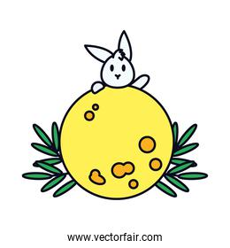 mid autumn concept, full moon and rabbit icon, line and fill style
