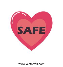 safe heart flat style icon vector design
