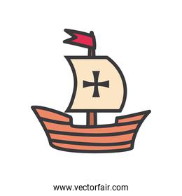 Columbus ship line and fill style icon vector design