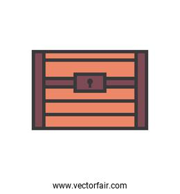 treasure chest line and fill style icon vector design