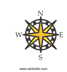 compass line and fill style icon vector design