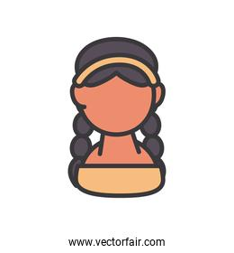 indian woman avatar line and fill style vector design