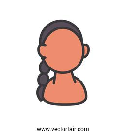 indian woman avatar line and fill style icon vector design