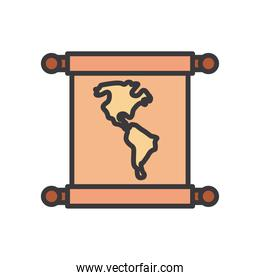 world map line and fill style icon vector illustration