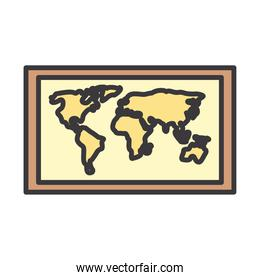 world map line and fill style icon vector design