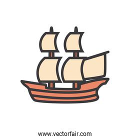 ship vehicle line and fill style icon vector design