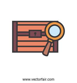 treasure chest with lupe line and fill style icon vector design