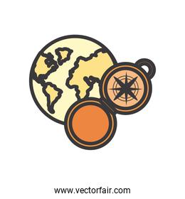 compass and world line and fill style icon vector design