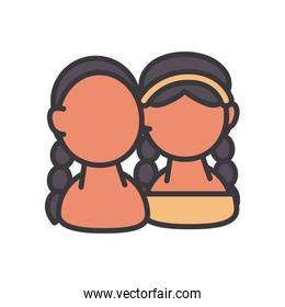 indian women avatars line and fill style icon vector design