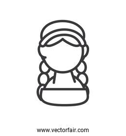 indian woman avatar line style icon vector design