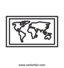 world map line style icon vector design