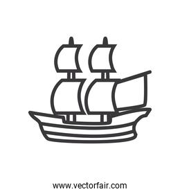 ship vehicle line style icon vector design