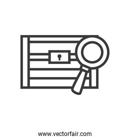 treasure chest with lupe line style icon vector design