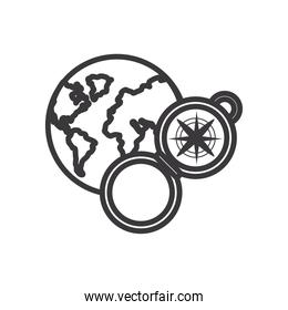 compass and world line style icon vector design