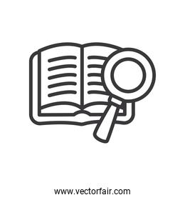 open book and lupe line style icon vector design
