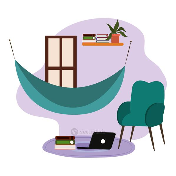 hammock chair shelf with books and laptop