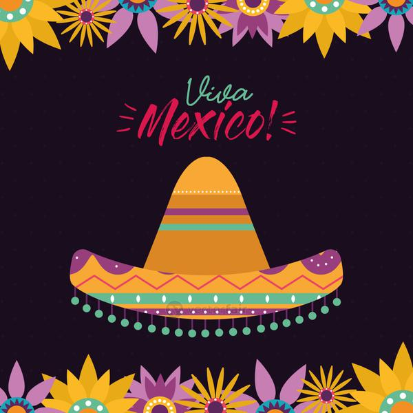 mexican hat with flowers vector design