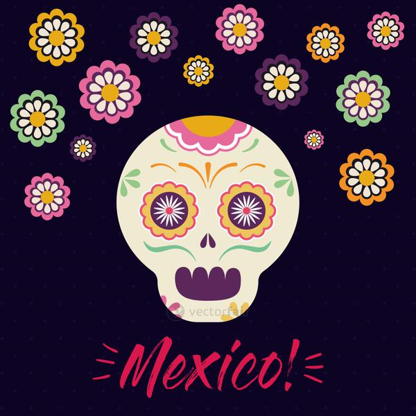 mexican skull head with flowers vector design