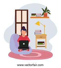 working at home, woman in chair with computer table lamp and books, people at home in quarantine
