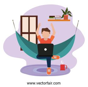 working at home, young man using laptop on hammock in room, people at home in quarantine