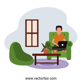 working at home, guy using laptop computer in living room, people at home in quarantine