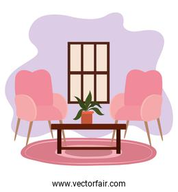 living room chairs table potted plant and window