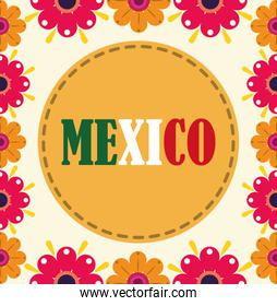 mexican independence day, celebrated on september flowers floral decoration poster