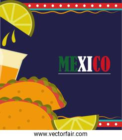 mexican independence day, tacos tequila shot lemon poster, celebrated on september