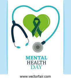 mental health day, ribbon in green heart stethoscope, psychology medical treatment