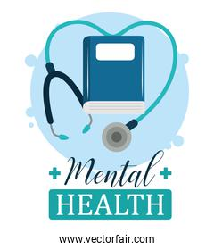 mental health day, stethoscope book psychology medical treatment