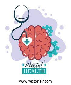 mental health day, brain gears functions stethoscope, psychology medical treatment