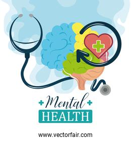 mental health day, human brain stethoscope medical support psychology treatment