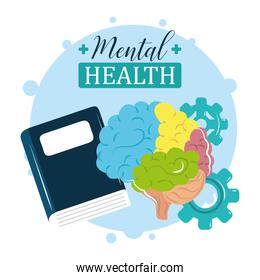 mental health day, colored brain treatment reading book