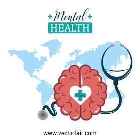 mental health day, world stethoscope and brain, psychology medical treatment