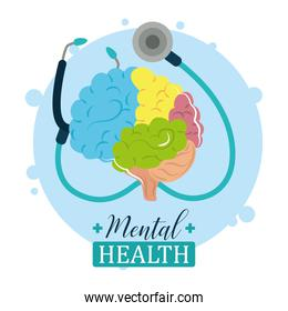 mental health day, medical stethoscope and human brain, psychology treatment