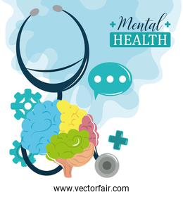 mental health day, stethoscope brain cognitive psychology medical treatment
