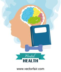 mental health day, psychology medical treatment head brain read and exercises