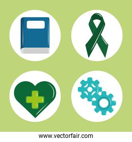 mental health day, psychology medical treatment book ribbon heart gears icon set