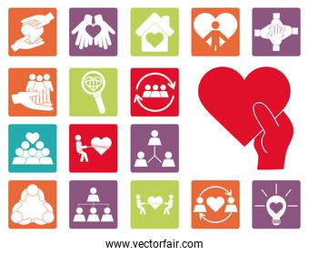 together, team relation friendly charity social color icons set