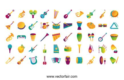 bundle of fifty musical instruments set icons