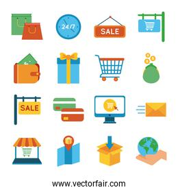 bundle of sixteen shopping set collection icons