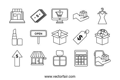 pack of fifteen shopping set icons
