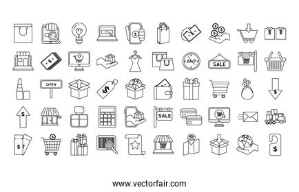 pack of fifty shopping set icons