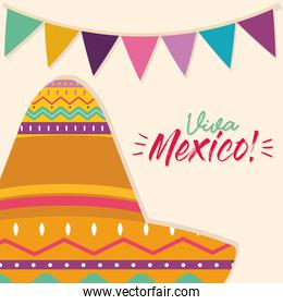 mexican hat with banner pennant vector design