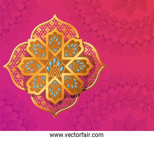 gold flower on pink with mandalas background vector design