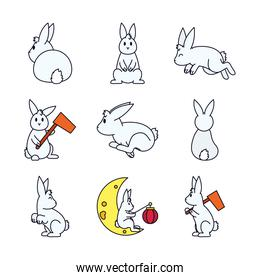 cute rabbits and Mid autumn icon set, line and fill style