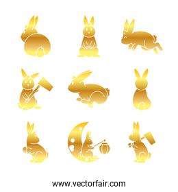 cute rabbits and Mid autumn icon set, gradient style