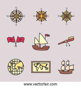Christopher Columbus man line and fill style icon set vector design