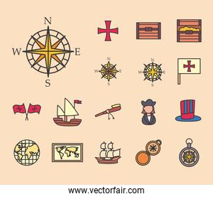 Christopher Columbus man line and fill style set of icons vector design