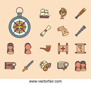 Christopher Columbus man line and fill style collection of icons vector design